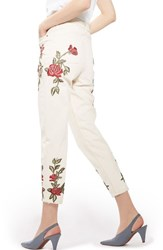 Topshop Women's Rose Embroidered Mom Jeans Cream Multi