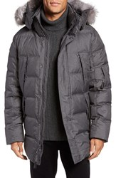 Andrew Marc New York Men's Altitude Quilted Down Jacket With Genuine Fox Fur Trim Hood Fog