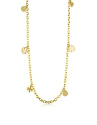 Tory Burch Gold Plated Logo Charm Rosary Necklace