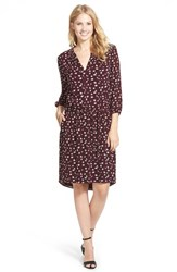 Women's Caslon Three Quarter Sleeve Print Shirtdress Burgundy Blossom Print