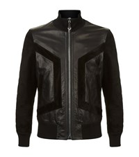 Philipp Plein Speachless Leather Bomber Jacket Male Black