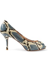 Lucy Choi London Chiswick Snake Effect Glossed Leather Pumps Animal Print