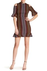 Abs By Allen Schwartz Cold Shoulder Geo Print Midi Dress Red
