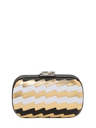 Corto Moltedo Susan Pleated Leather Metal Clutch