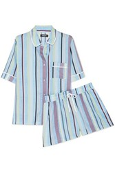 Dkny Easy Does It Striped Crepe De Chine Pajama Set Light Blue