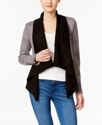 Jessica Simpson Draped Faux Leather Jacket Charcoal