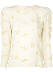 Brock Collection Floral Sleeve Detail Shirt Neutrals