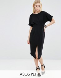 Asos Petite Wiggle Dress With Split Front Black