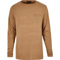 River Island Mens Light Brown Long Sleeve T Shirt