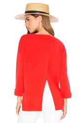 Autumn Cashmere High Low Open Back Sweater Red