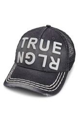True Religion Men's Brand Jeans Denim Trucker Hat Black
