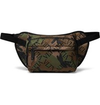 Valentino Garavani Leather Trimmed Printed Nylon Belt Bag Green