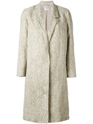 Forte Forte Single Breasted Jacquard Coat Women Cotton Linen Flax Polyamide Viscose 2 Nude Neutrals