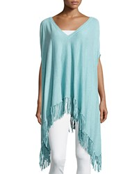 Minnie Rose Cotton V Neck Fringe Poncho Aqua Blue