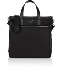 Prada Men's Leather Trimmed Tote Bag Black