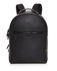 Salvatore Ferragamo Firenze Pebbled Leather Backpack Black