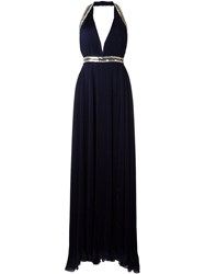 Roberto Cavalli Embellished Trim Pleated Gown Blue