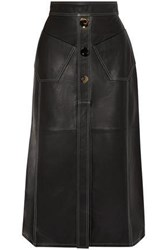Ellery Woman Aggie Button Embellished Leather Midi Skirt Black
