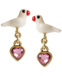 Betsey Johnson Gold Tone White Dove And Pink Heart Drop Earrings