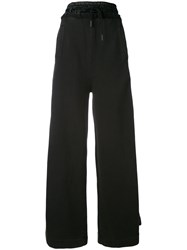 Off White Drawstring Palazzo Trousers Women Cotton Polyester S Black