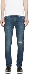 Blk Dnm Blue Distressed Skinny Jeans