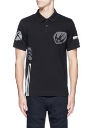 Mcq By Alexander Mcqueen 'Swallow' Woodcut Tribal Print Polo Shirt Black