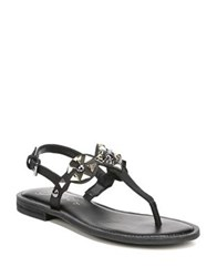 Fergie Mariana Studded Leather T Strap Sandals Black