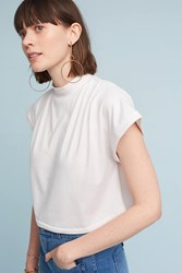 Anthropologie Mock Neck Cropped Tee Ivory