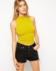 Asos Crop Top With Turtle Neck Olive