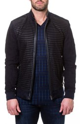 Maceoo Stripe Suede Bomber Jacket Blue
