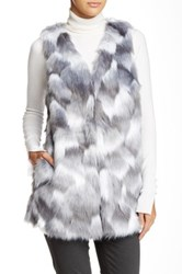 Romeo And Juliet Couture Long Faux Fur Vest Gray