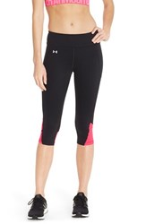 Women's Under Armour 'Fly By' Colorblock Capris Black Harmony Red