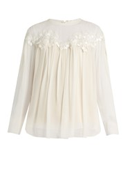Chloe Lace Trimmed Gathered Silk Georgette Blouse Ivory