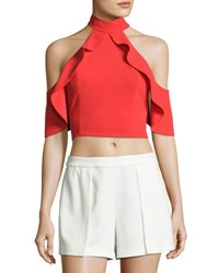 Alice Olivia Cabot Cold Shoulder Ruffle Crop Top Bright Red
