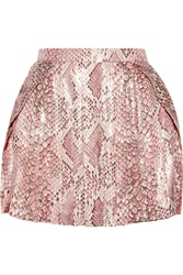 Just Cavalli Metallic Snake Print Silk Chiffon Mini Skirt Pink