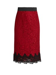 Dolce And Gabbana Cordonetto Lace Pencil Skirt Red