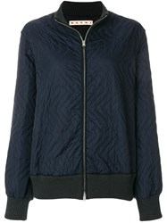 Marni Quilted Bomber Jacket Cotton Polyamide Polyester Wool Blue