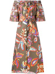 Peter Pilotto Graphic Floral Bardot Dress Women Cotton Spandex Elastane 12 Khaki