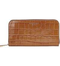 Aspinal Of London Continental Clutch Crocodile Embossed Leather Wallet Tan