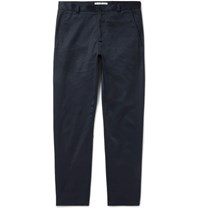 Acne Studios Alfred Slim Fit Cotton Blend Twill Trousers Blue