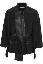 Givenchy Black Silk Crepe De Chine Jacket With Leather Panels