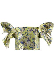 Delpozo Floral Structured Sleeve Crop Top Women Silk Cotton Polyester 36