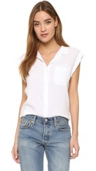 Bella Dahl Welt Pocket Cap Sleeve Shirt White