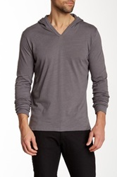 Threads For Thought Slub Knit V Neck Hoodie Gray