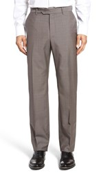 Monte Rosso Men's Flat Front Check Wool Trousers Light Grey