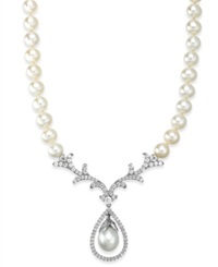 Arabella Bridal Cultured Freshwater Pearl 8Mm And Swarovski Zirconia 2 1 5 Ct. T.W. Necklace In Sterling Silver White