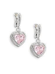 Judith Ripka Fontaine Pink Crystal White Sapphire And Sterling Silver Heart Drop Earrings Silver Pink
