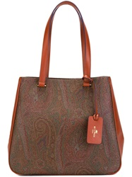 Etro Paisley Pattern Tote Bag Brown