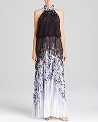 Aqua Gown High Neck Printed Blouson Bodice And Pleated Skirt