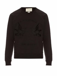 Gucci Hummingbird Applique Cotton Sweatshirt Black